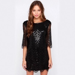Vestido Corto lentejuelas negro 4128
